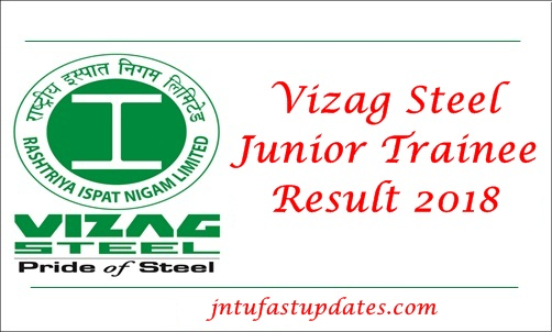 Vizag Steel Junior Trainee Result 2018