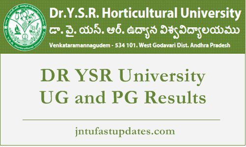 DR YSR University UG and PG Results 2018