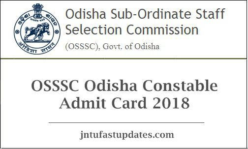 OSSSC Odisha Constable Admit Card 2018