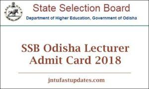 SSB Odisha Lecturer Admit Card 2018