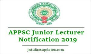 APPSC Junior Lecturer Notification 2019
