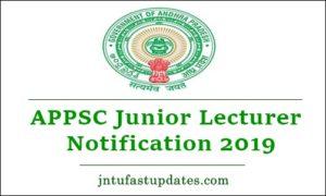 APPSC Junior Lecturer Notification 2019