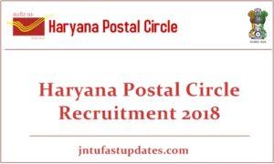 Haryana Postal Circle Recruitment 2018