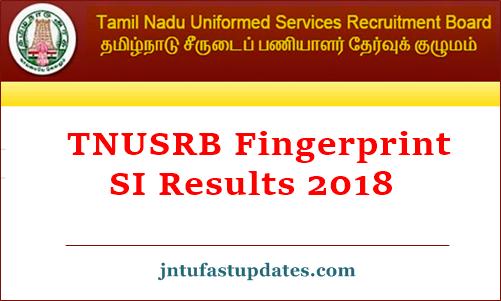 TNUSRB Police SI Fingerprint Results 2018