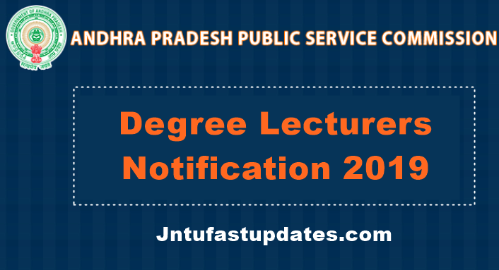 APPSC Degree Lecturers Notification 2019