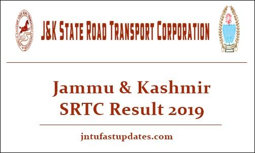 JKSRTC Result 2019