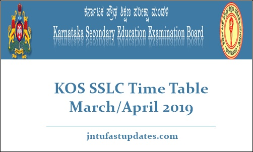 KOS SSLC Time Table March April 2019