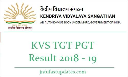 KVS TGT PGT Result 2018 -19