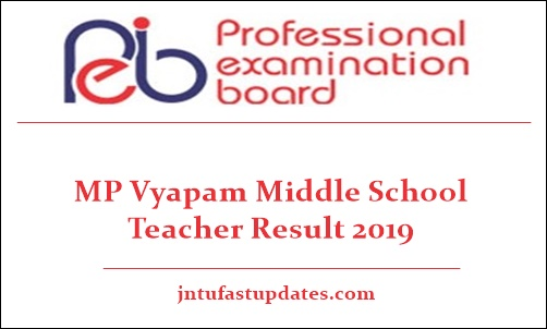 MP Vyapam Middle School Teacher Result 2019