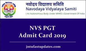 NVS PGT Admit Card 2019