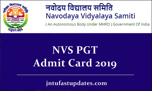 NVS PGT Admit Card 2019