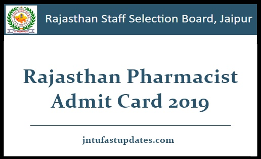 Rajasthan Pharmacist Admit Card 2019