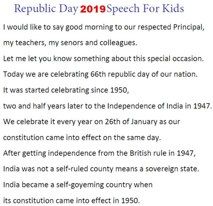 Republic Day Speech 2019 in English For Kids, School Students, Teachers