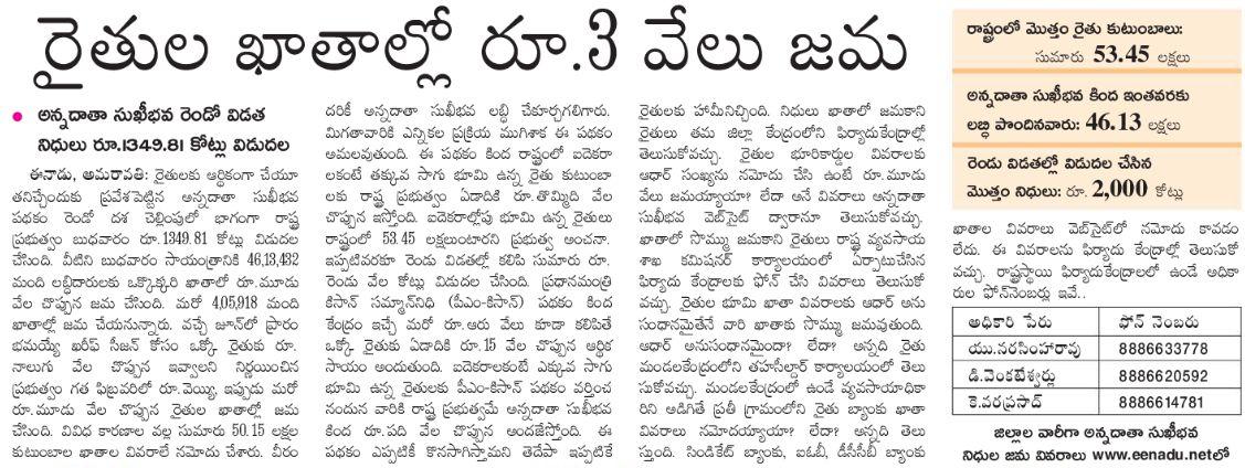 AP Annadata Sukhibhava 2nd payment released
