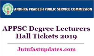 APPSC Degree Lecturers Hall Tickets 2019