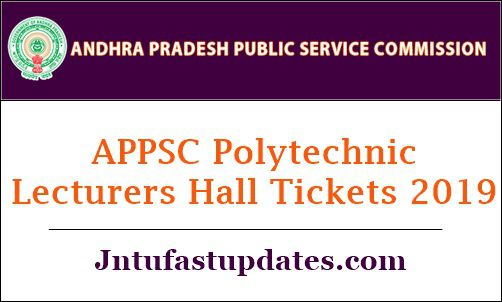 APPSC Polytechnic Lecturers Hall Tickets 2019