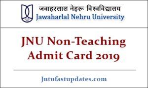 JNU Non-Teaching Admit Card 2019