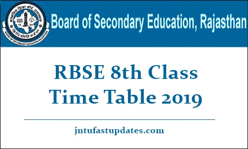 RBSE 8th Class Time Table 2019