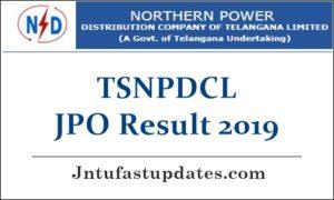 TSNPDCL Junior Personnel Officer Result 2019