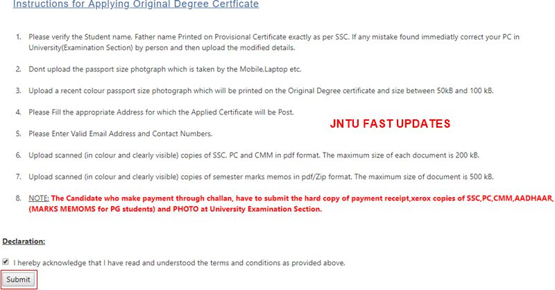 JNTUK Original Degree Application Form 2019 - JNTUK OD Apply online