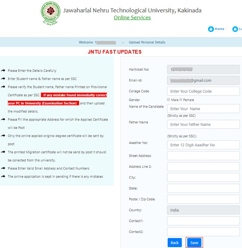 JNTUK Original Degree Application Form 2019 - JNTUK OD Apply
