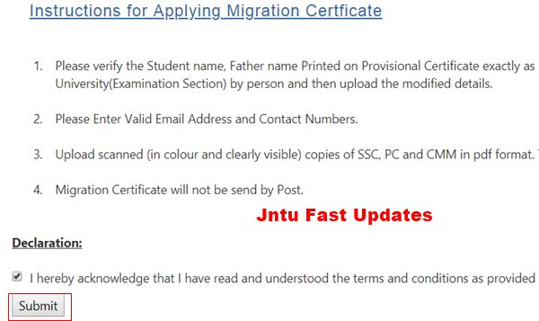 Instructions for Applying Migration Certificate