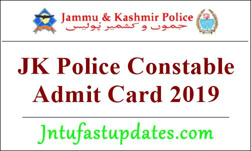 JK Police Constable Admit Card 2019
