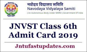 JNVST Class 6th Admit Card 2019