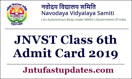 JNVST Class 6th Admit Card 2019