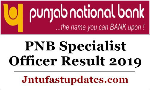PNB Specialist Officer Result 2019