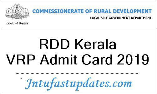 RDD Kerala VRP Admit Card 2019