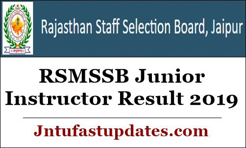 RSMSSB Junior Instructor Result 2019