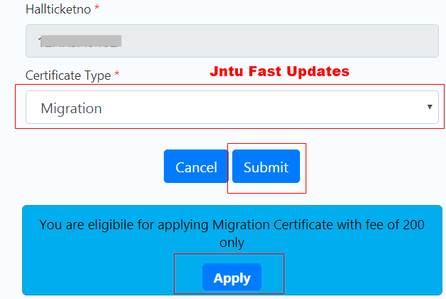 jntuk migration certificate apply