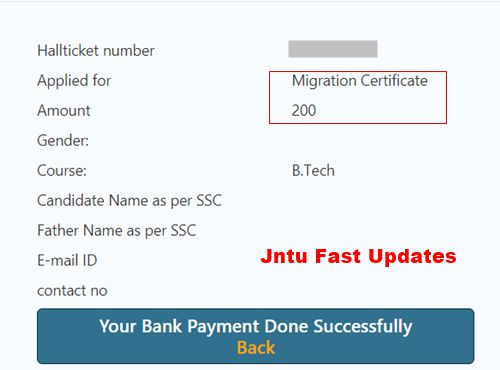 jntuk migration certificate fee