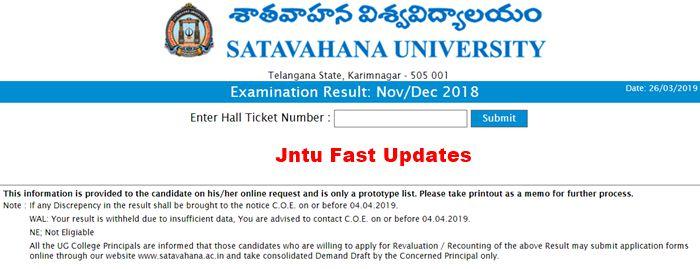 satavahana university results nov-dec 2018