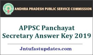 APPSC Panchayat Secretary Answer Key 2019
