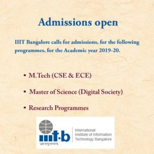 IIIT Bangalore M.Tech Admission 2019
