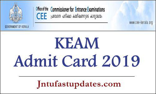 KEAM Admit Card 2019