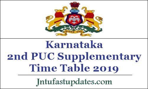Karnataka 2nd PUC Supply Time Table 2019