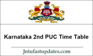 Karnataka 2nd PUC Time Table 2020