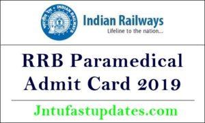 RRB Paramedical Admit Card 2019