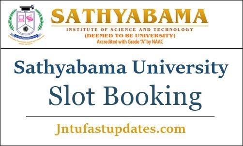 Sathyabama University Slot Booking 2019