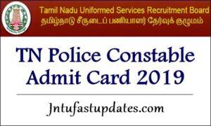 TN Police Constable Admit Card 2019