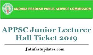 APPSC Junior Lecturer Hall Tickets 2019