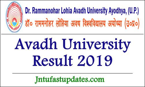 Avadh University Result 2019 - RMLAU BA B Sc B Com 1st 2nd
