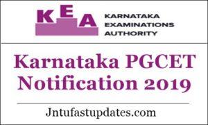 Karnataka PGCET Notification 2019