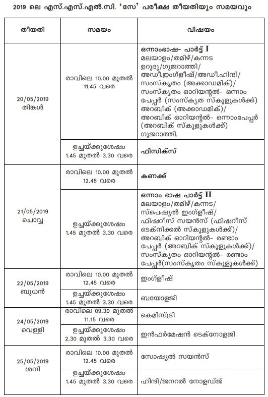 Kerala SSLC SAY Time Table 2019
