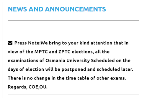 OU All the Examinations Scheduled on the days of election will be Postponed