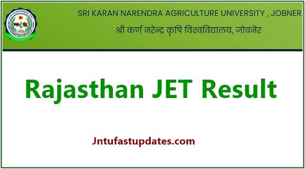 Rajasthan JET Result 2021