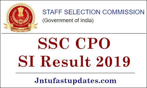 SSC CPO SI Result 2019